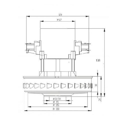 32 pylesosnyj dvigatel VC07W121 1400 W moyuschij n 131 D 130 sxema 20180625130653 500x474 - Двигатель для пылесоса VC07W121 1400 W (моющий)