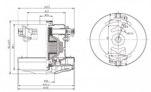 dvigatel vc07w29 sx 1200w sxema 20180625110611 20180726160710 1 500x305 - Двигатель для пылесоса VC07W29-SX - 1200W
