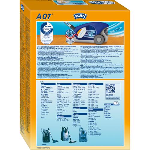пылесоса AEG Swirl A07 500x500 - SWIRL A 07/4 MP PLUS Комплект мешков для пылесоса AEG