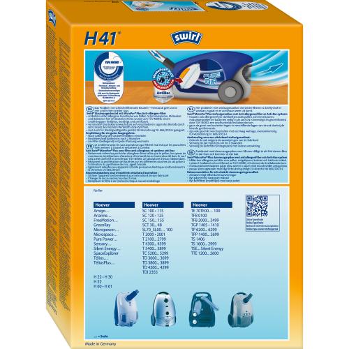 Swirl H41 MicroPor Plus 1 500x500 - SWIRL H 41/4 MP PLUS Комплект мешков для пылесоса Hoover