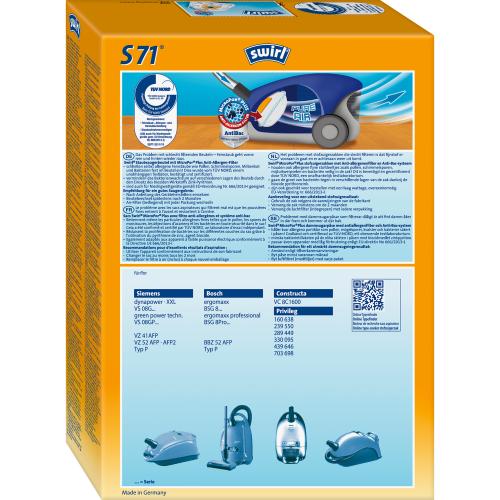 Swirl S71 MicroPor Plus 1 1 500x500 - SWIRL S71/4 MP PLUS Комплект мешков для пылесоса Bosch