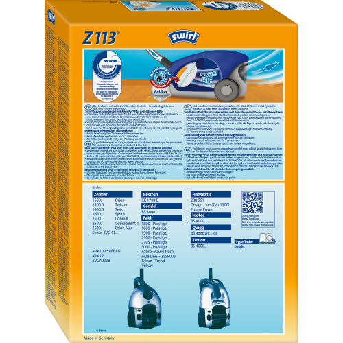 Swirl Z113 MicroPor Plus 1 500x500 - SWIRL Z 113/4 MP PLUS Комплект мешков для пылесоса Zelmer